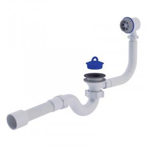 """Сифон ANI Plast E155-E156 для ванни прямоточний, з випуском і переливом 1 1/2 """" вихід 50 мм"""