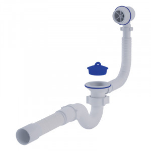 """Сифон ANI Plast C6155 для ванни прямоточний, з випуском і пластиковим переливом 1 1/2 """" вихід 50 мм"""