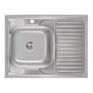 Кухонная мойка 6080-L Satin (0,6 мм)