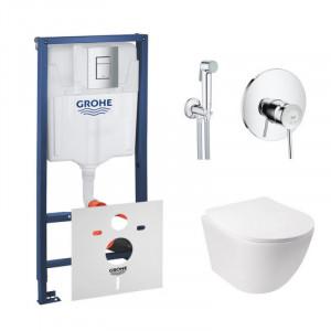 Комплект унитаз с сиденьем Q-tap Jay WHI 5176+инсталляция Grohe Rapid SL 38772001+гигиенический душ Grohe BauClassic 2904800S