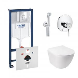 Комплект унитаз с сиденьем Q-tap Jay WHI 5176+инсталляция Grohe Rapid SL 38721001+гигиенический душ Grohe BauClassic 2904800S