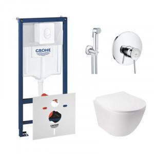 Комплект унитаз с сиденьем Q-tap Jay WHI 5176+инсталляция Grohe Rapid SL 38722001+гигиенический душ Grohe BauClassic 2904800S
