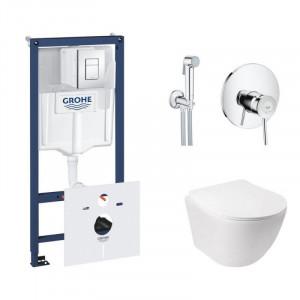 Комплект унитаз с сиденьем Q-tap Jay WHI 5176+инсталляция Grohe Rapid SL 38827000+гигиенический душ Grohe BauClassic 2904800S