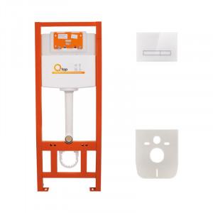 Инсталляция для унитаза Q-tap Nest M425 ST комплект 4 в 1 с клавишей PL M08GLWHI