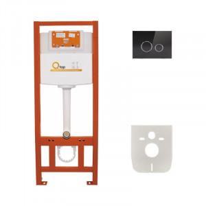 Инсталляция для унитаза Q-tap Nest M425 ST комплект 4 в 1 с клавишей PL M11GLBLA
