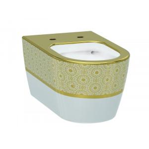 Унитаз подвесной Idevit Alfa Rimless 3104-2616-1101, белый/золото