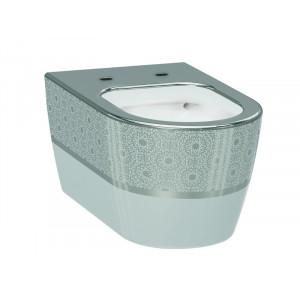 Унитаз подвесной Idevit Alfa Rimless 3104-2616-1201, белый/серебро