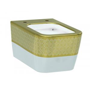 Унитаз подвесной Idevit Halley Rimless 3204-2616-1101, белый/золото