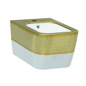Биде подвесное Idevit Halley 3206-2605-1101, белое/золото