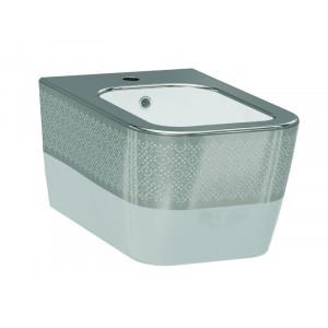 Биде подвесное Idevit Halley 3206-2605-1201, белое/серебро
