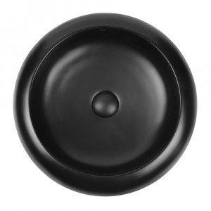 Раковина-чаша Qtap Robin 460x460x100 Matt black с донным клапаном QT13113062MB
