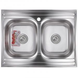 Мойка кухонная ZERIX Z8060B-08-180MD DOUBLE micro decor ZS0611