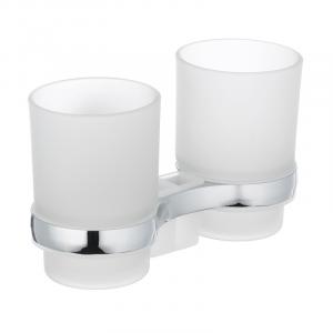 Держатель для щеток с 2 стаканами настенный Zerix LR3308 (LL1439)