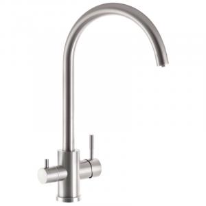 Смеситель для кухни с вых. для питьевой воды Zerix SUS-021-2 (нерж.сталь) (ZX3238)