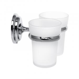 Держатель для щеток с 2 стаканами настенный Zerix LR1508 (LL1410)