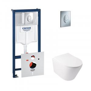 Набор инсталляция 4 в 1 Grohe Rapid SL 38721001+унитаз с сиденьем Qtap Swan QT16335178W