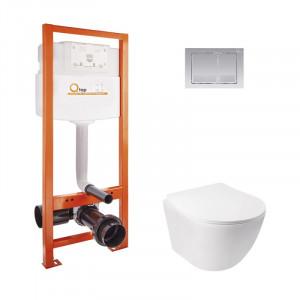 Набор Qtap инсталляция Nest QTNESTM425M06CRM+унитаз с сиденьем Jay QT07335176W