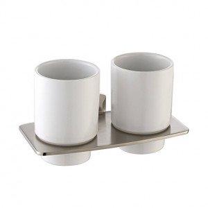 Пара керамических стаканов с настенным держателем Kraus KEA-13316BN