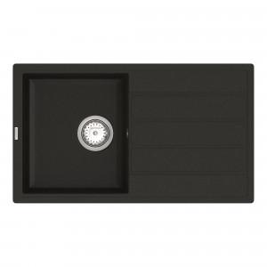 Кухонная мойка VANKOR Easy EMP 02.76 Black + сифон VANKOR
